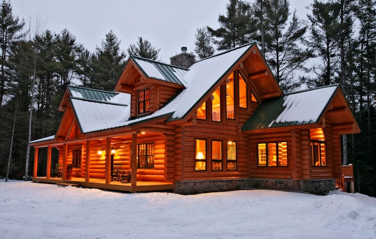 Big bear log cabin luxury maine southern maine caba as for Large luxury log homes