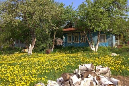 Большой деревенский дом с русской печью .