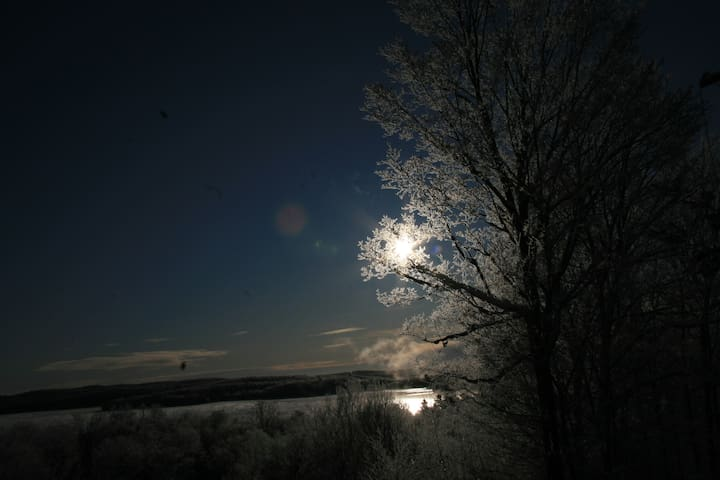 Winter Moon over lake from bnb
