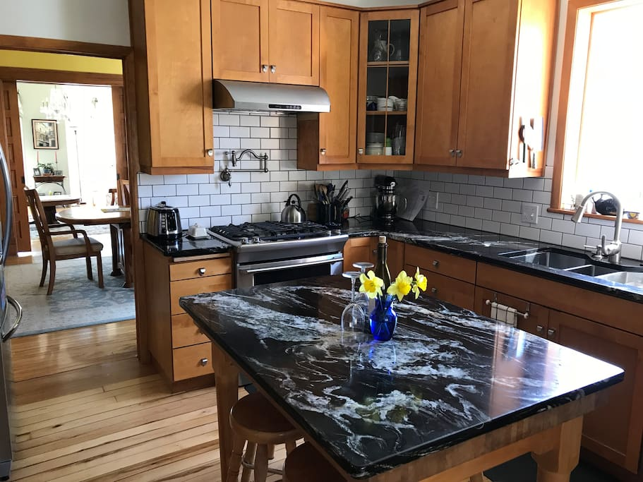 Newly remodeled shared kitchen with gas range