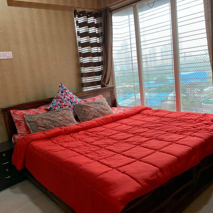 Clean Upscale Master Bedroom in Heart of Mumbai