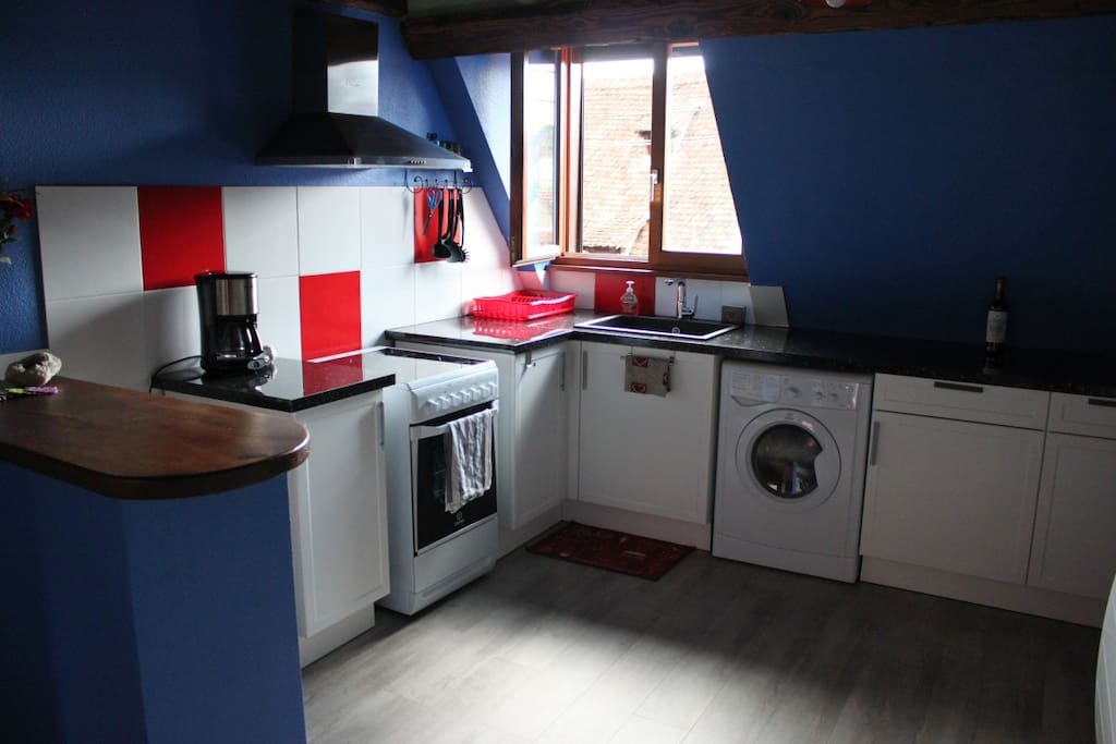 Cuisine, avec lave-linge séchant, micro-ondes, four, frigo.  Kitchen, with washer/dryer, microwave, fridge, oven.