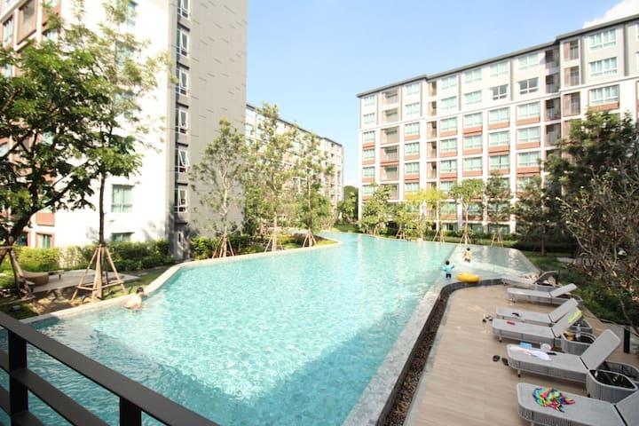2BR超大泳池豪华两房公寓3.1清迈最大商场Central Festival BigC超市旁中文服务