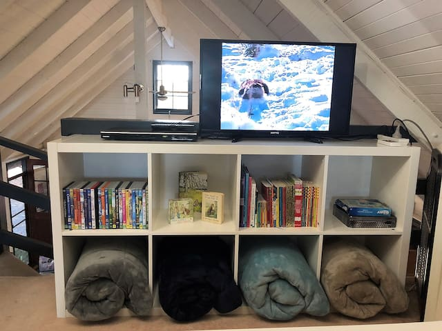 The separate entertainment unit in the Loft has it's own kid friendly DVD's and books.  Spare blankets are also stored here for chilly nights.