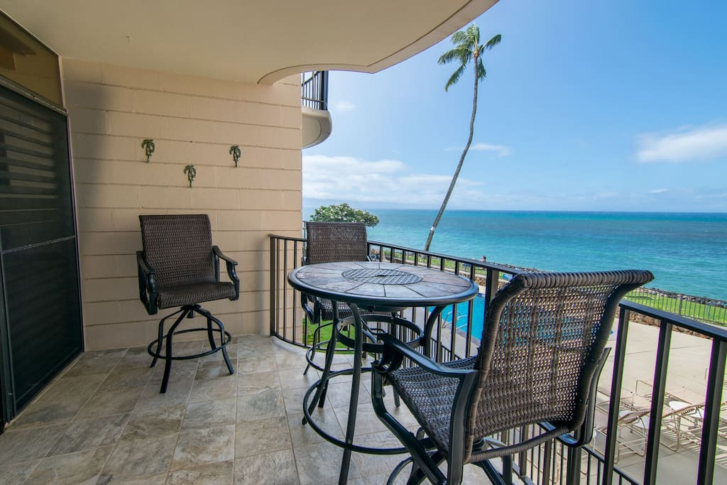 Enjoy morning coffee and evening meals on your very own private ocean front lanai