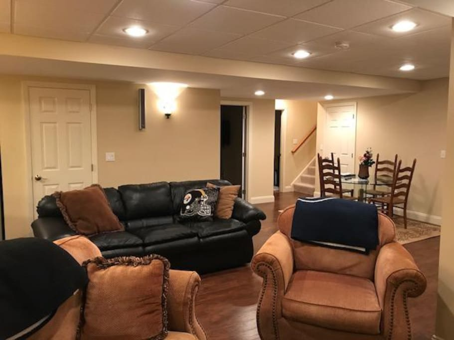 Spaces room to relax on a comfy leather or cloth couch to enjoy a good book or watch sports or a Hallmark movie.