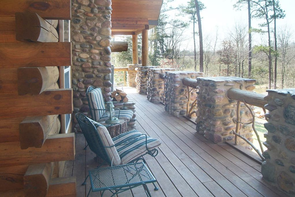 Large wrap around deck with seating for 15 plus outdoor fireplace