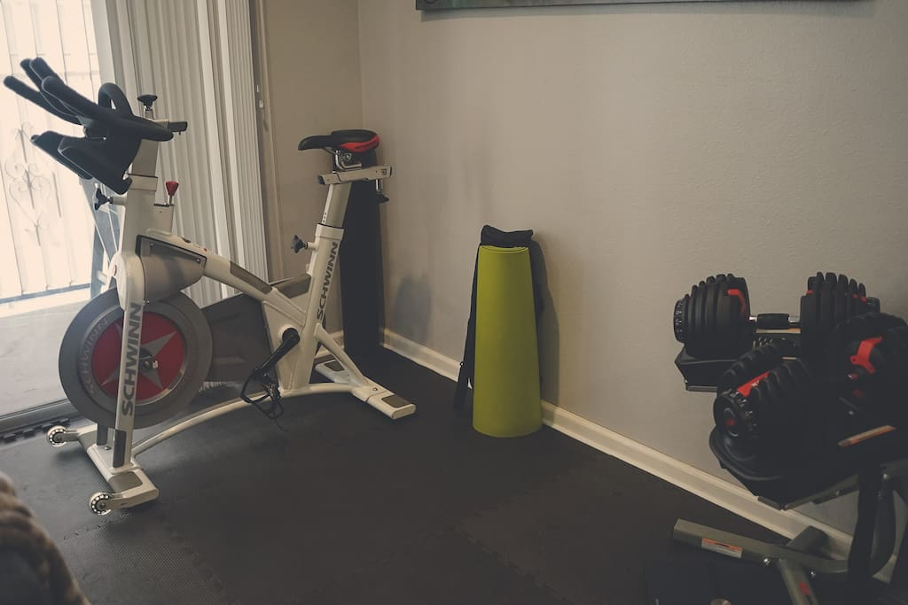 Get a workout in on this spin bike and adjustable dumbbell set