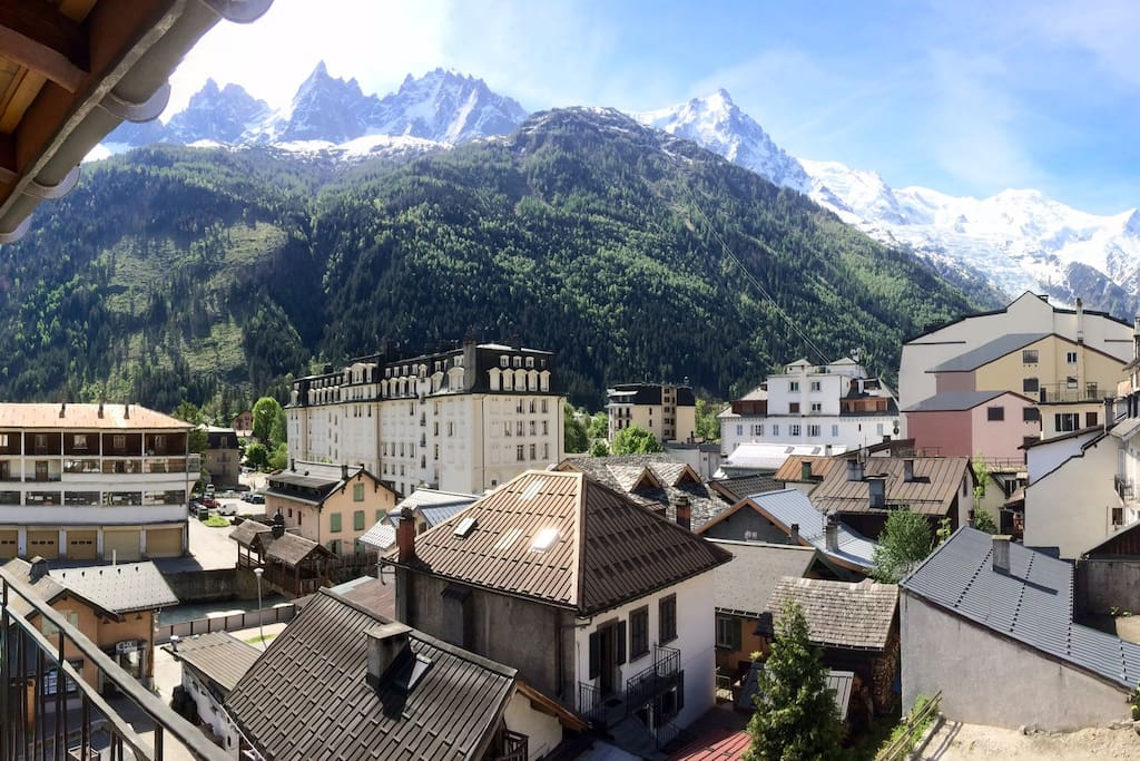View over Mont Blanc chain from balcony