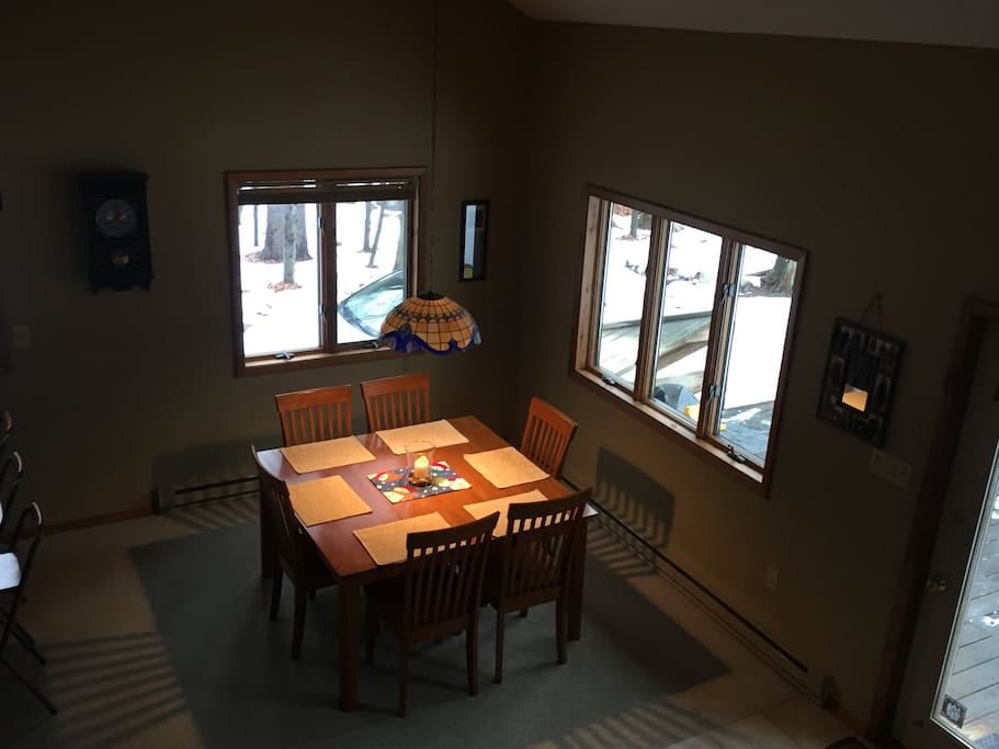 Dining table off the kitchen with room for 8