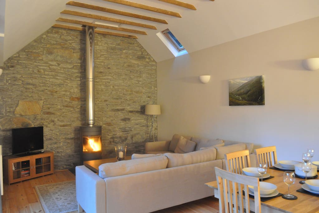 Open plan living, dining and kitchen area with wood burning stove