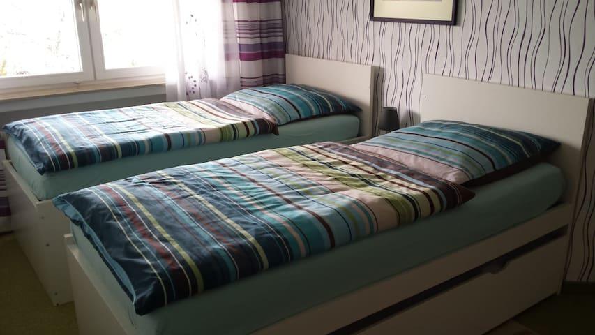 Zwei Einzelbetten 100 cm x 200 cm