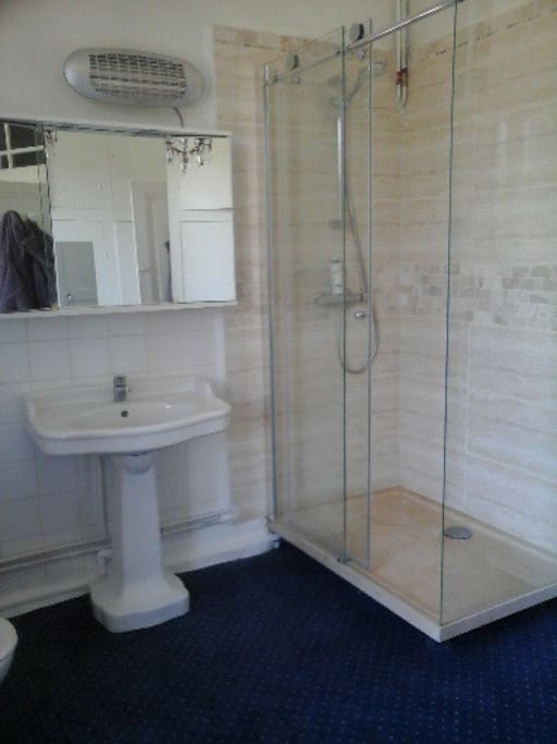 La salle de bain est grande et vient d'être refaite.elle dispose d'une penderie et de plusieurs placards.