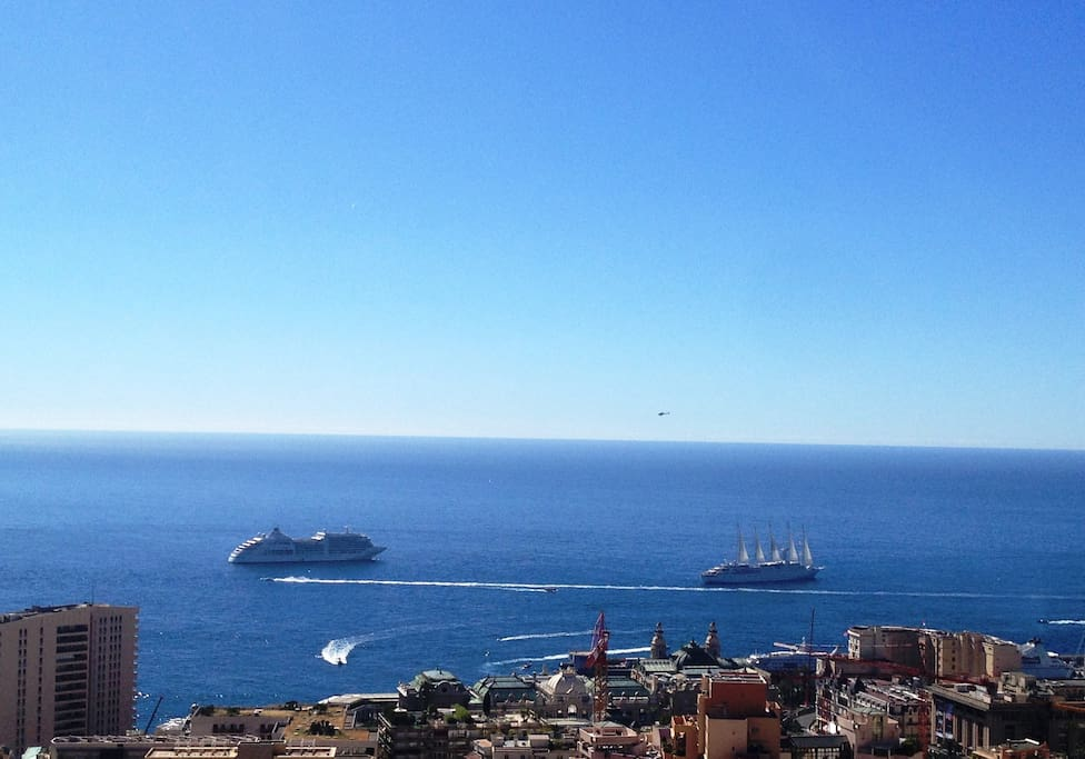 Panoramic sea view on Monte-Carlo casino square - cruise ship in the background !