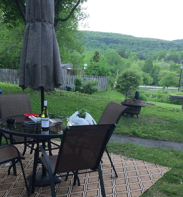 Backyard seating and view
