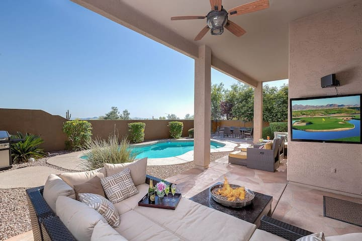 Lovely home w/pool, firepit, garden patio & great views -1 dog OK