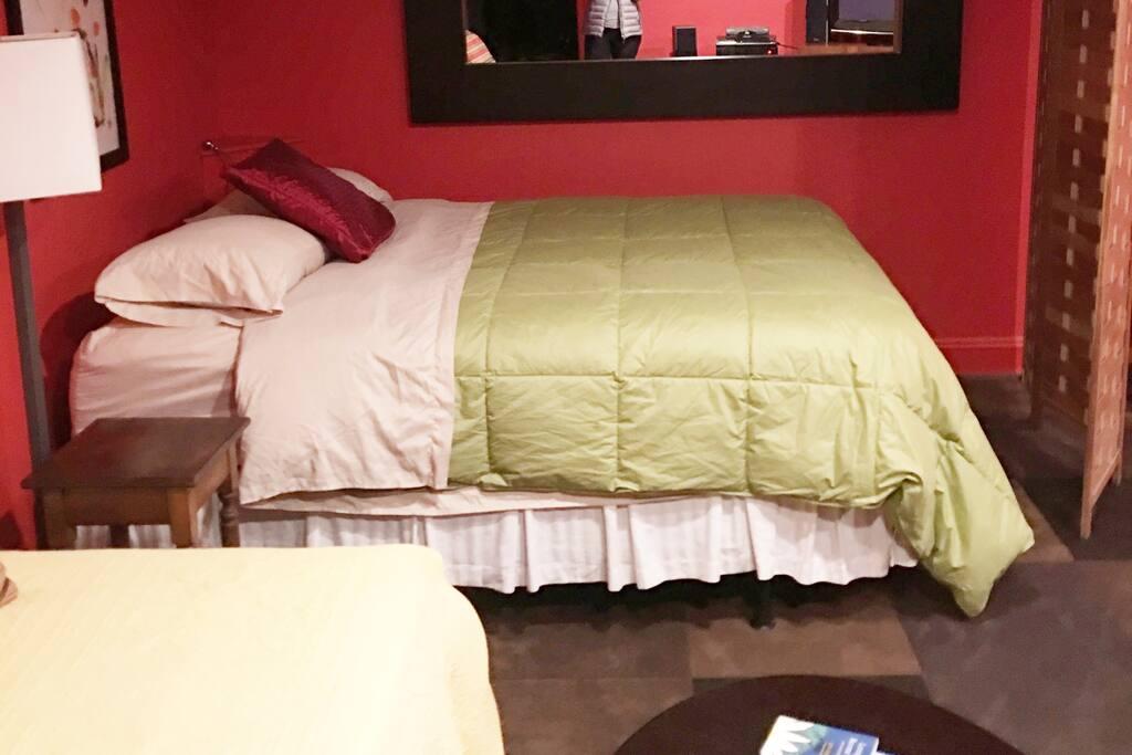 Queen bed in Basement Bedroom