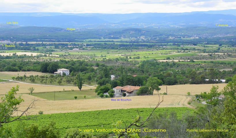 Gite du Mas de Bouchon Sud-Ardéche,nature,calme - Beaulieu - Casa