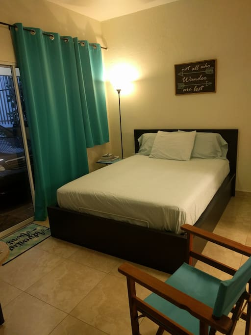 The studio apartment has one queen bed, new in June 2018.