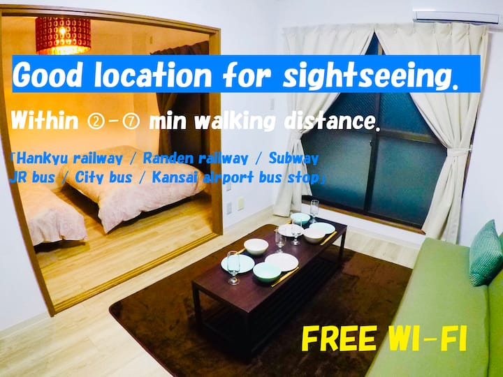 2-B central kyoto cozy&comfy bedroom apt.FREE WIFI