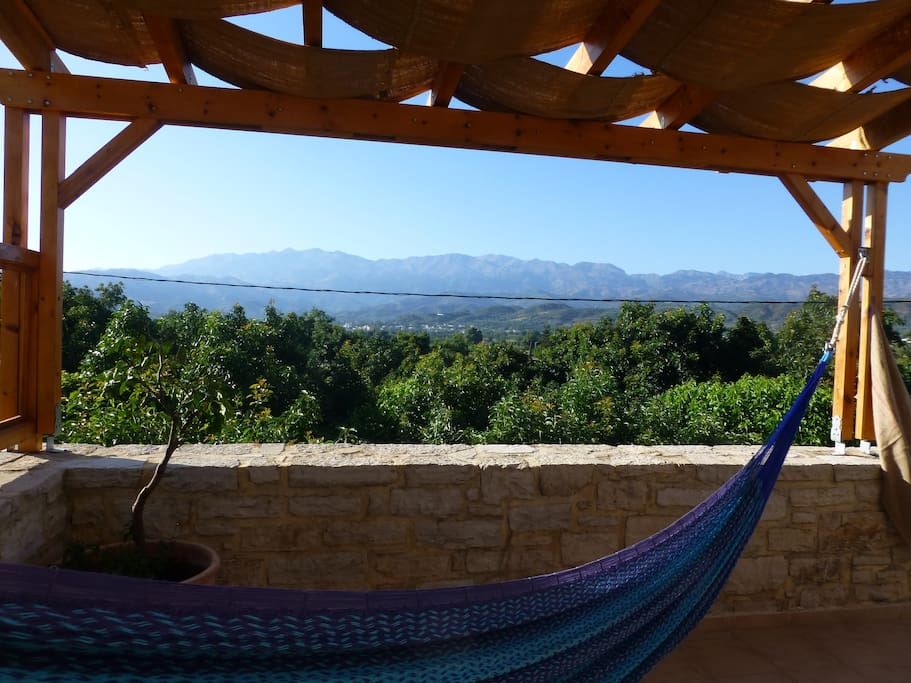 Why not lie in the genuine Mexican hammocks on the roof terrace and enjoy the view!