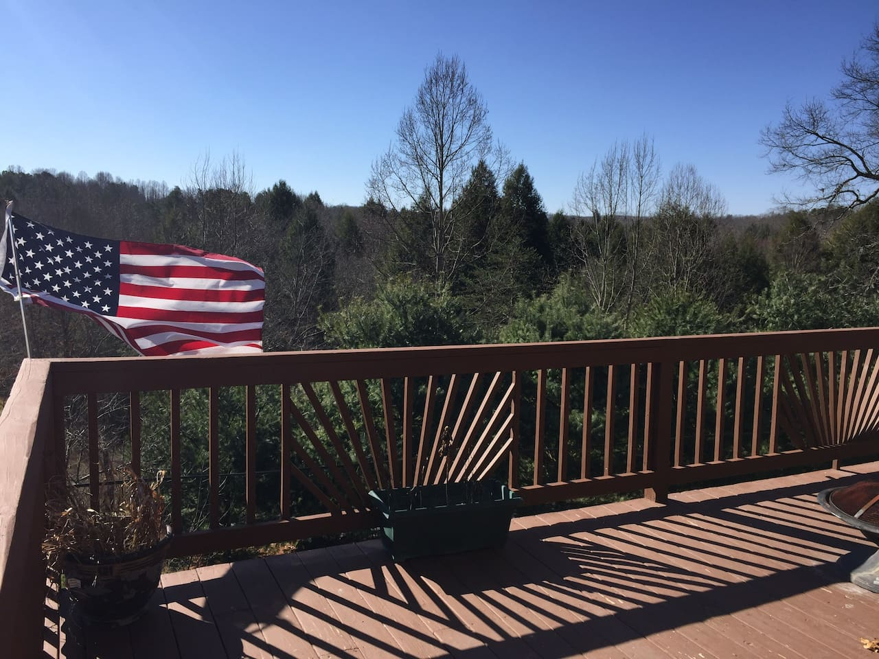Deck: south facing gorgeous views and super private, even though 5 minutes from Fayetteville