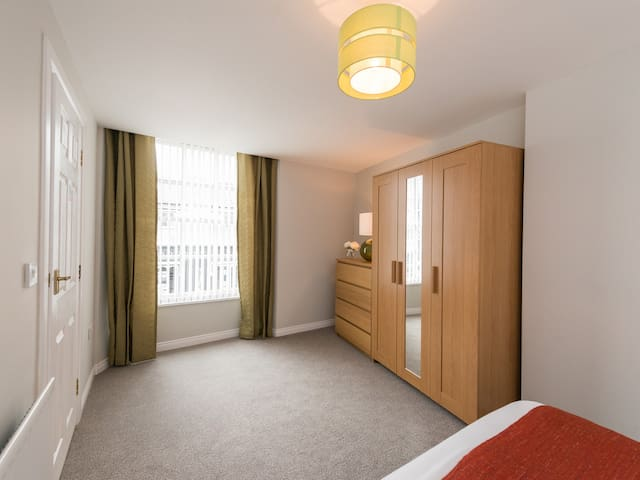 Heavy curtains and privacy blinds for your comfort.