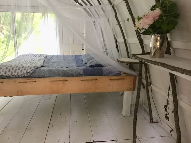 Traditional rope frame bed just like the ones you'll see in Old Sturbridge Village.  Living history!!