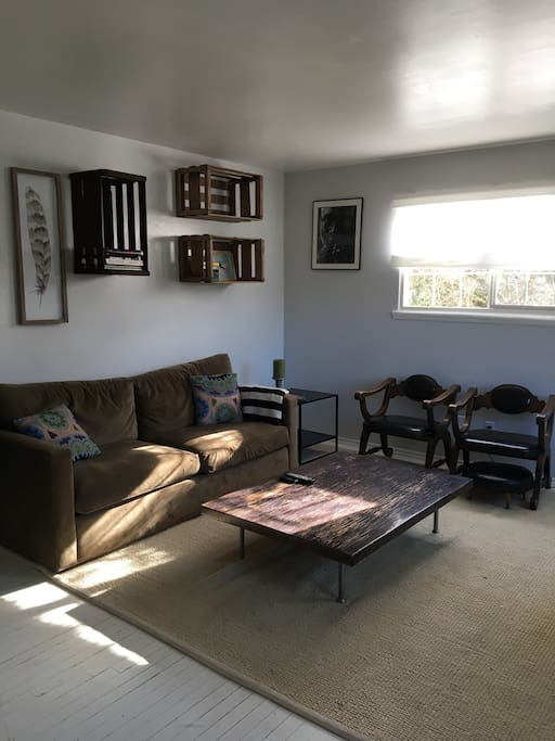 Sun filled front room. Comfy velvet couch and oversized rug. Tons of seating.