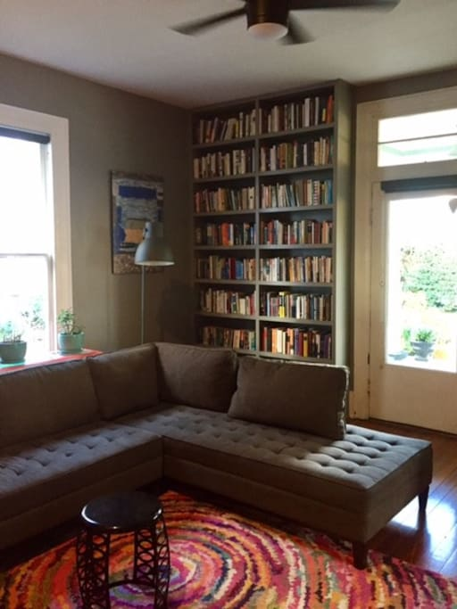 Feel free to hang out in the living room. Grab a book if you're interested in learning about Improv Comedy, Buddhism or the art of teaching or some other nerdy subject we like.