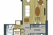 542 square feet with ample space for multiple guests.