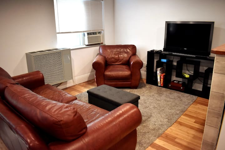 Living Room Area: Pull Out Couch, Roku TV and Board Games.