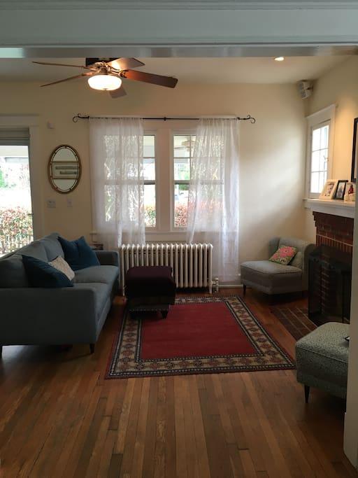 Cozy, sunny living room.