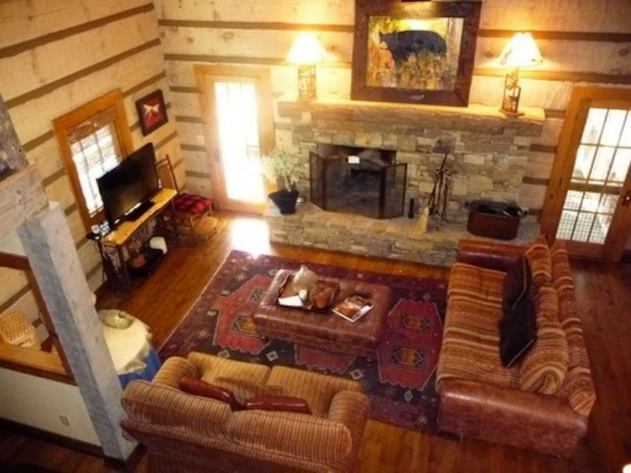Looking down on living room from loft