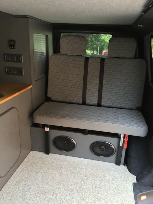 Crash tested rear seats with built in speakers