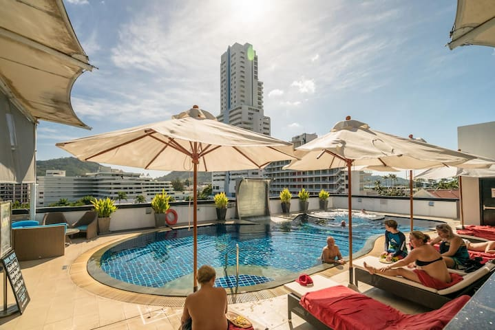 Absolute Bangla Suites, night walking street, rooftop pool L-04