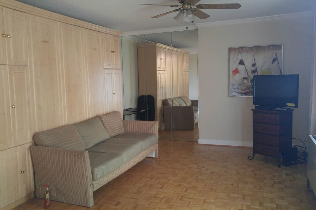 Studio With Murphy Bed. See pictures for operation.