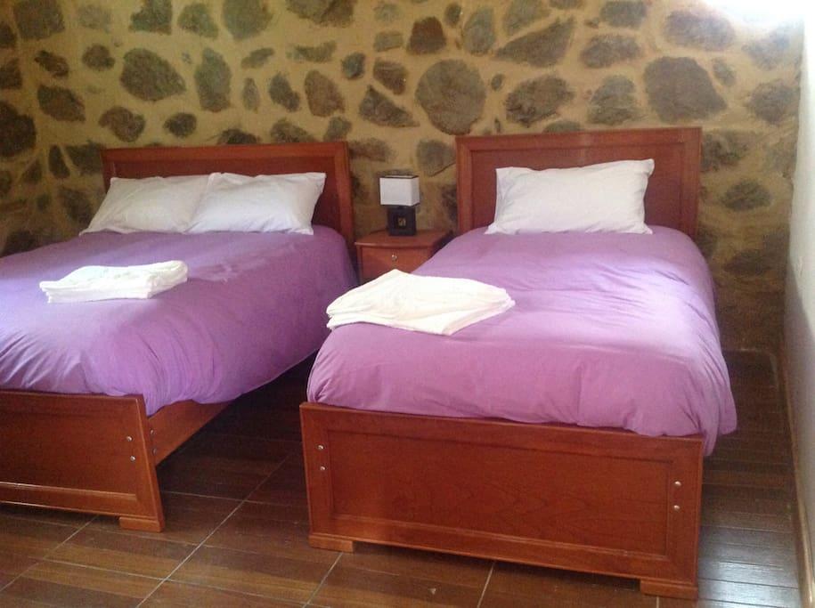 Las camas son súper cómodas, puedes escuchar el  sonido  del agua el cual es muy relajante. Está habitación cuenta con una cama matrimonial y una simple.