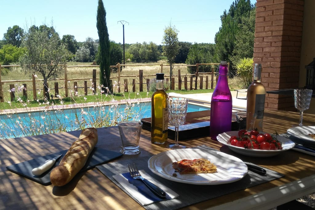 Lunch on the terrace with country views