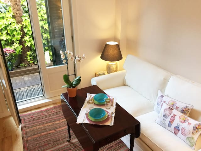 Living-room with a sofá cama for 2 people. Full equipped and  some beautiful antique furniture. Individual AA and hit.  WIFI high speed;  big size TV and working table