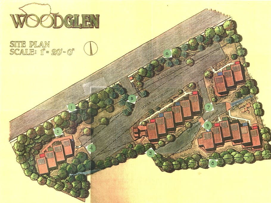 Site Plan of WoodGlen.  Unit F is Second From the Left in the Middle Group
