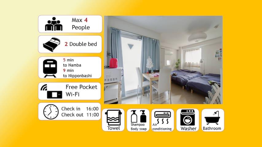 SPECIAL PRICE!! 5min from  Namba! 4 ppl MAX!! - Naniwa-ku, Ōsaka-shi - Apartment