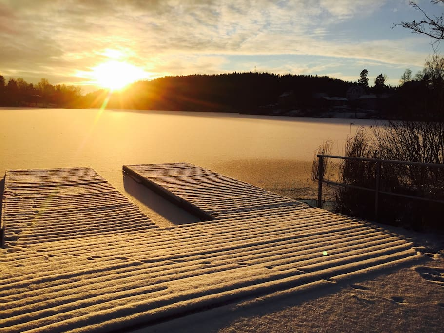 This is the lake in the wintertime , you can go for a walk on ice  some months of the year:-)