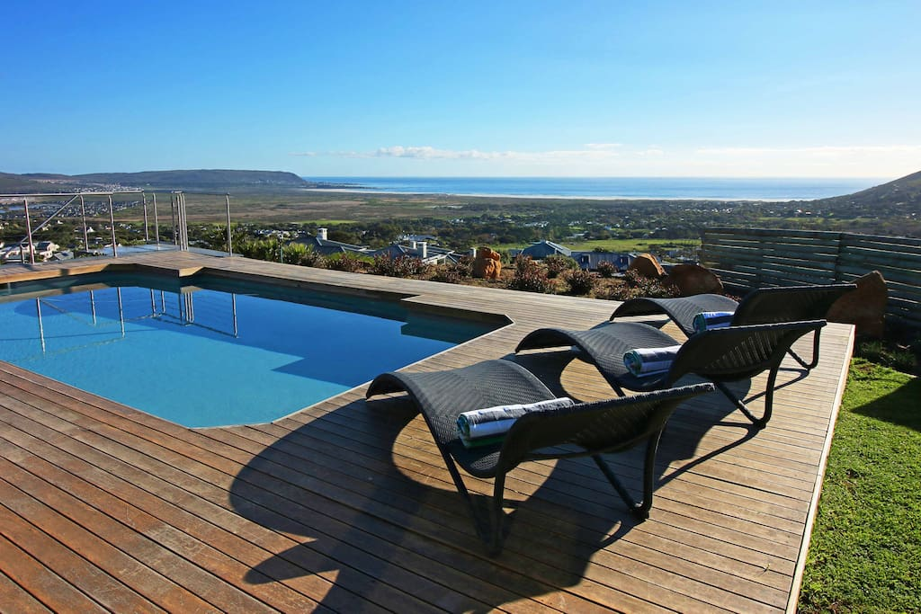 Pool deck with amazing view of the sea and Noordhoek beach.