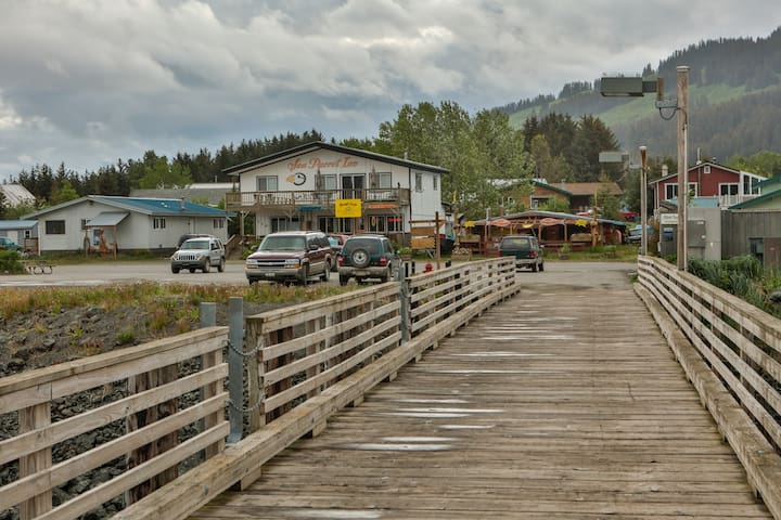 Sea Parrot Inn greets all visitors arriving in Seldovia from the harbor