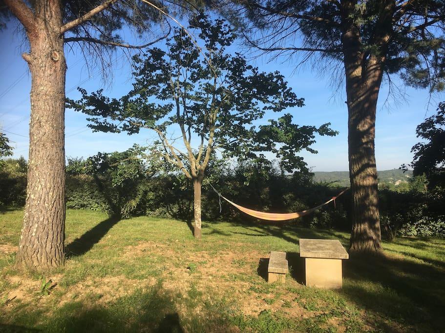 Parc arboré de 3000 m² avec vue sur les vignes et les gorges du gardon
