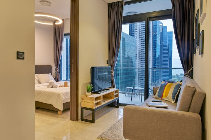 City 2 Bedroom | Sea View | Raffles Train Station - Szingapúr - Lakás