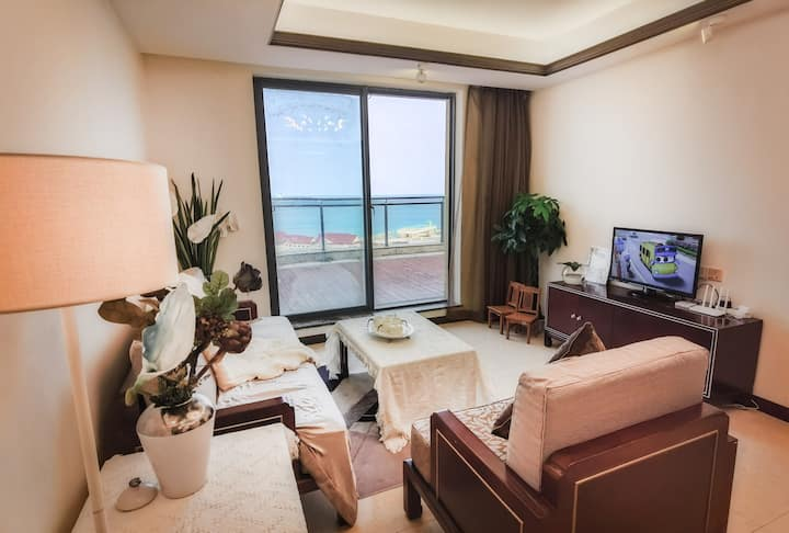 文昌逸龙湾顶层绝美海景两居公寓 80平超大阳台 海口机场动车直达 可做饭 游泳 温泉 鱼疗 海钓冲浪