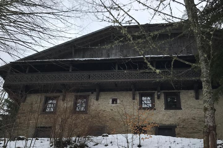 The view from the road - the chalet is arranged over four floors and there is parking for two cars