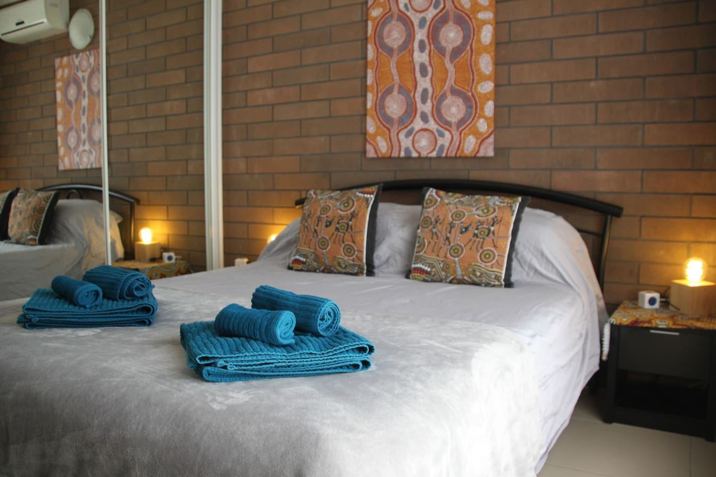 Your comfortable queen sized bed in your privat room.